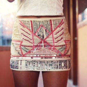 ZARA Tribal Beaded Skirt